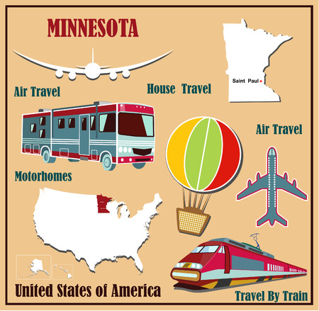 Mappa Appartamento del Minnesota negli Stati Uniti per viaggi aerei in auto e in treno. Illustrazione vettoriale