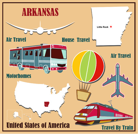 Flat map of Arkansas in the U.S. for air travel by car and train. Vector illustration Vector