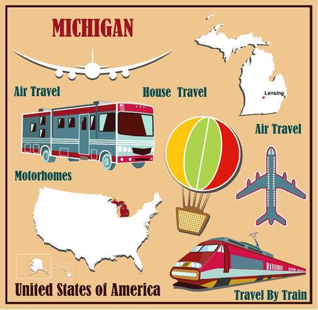Mappa Appartamento del Michigan negli Stati Uniti per viaggi aerei in auto e in treno. Illustrazione vettoriale