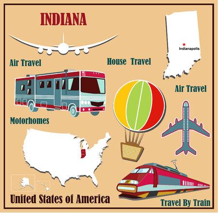 Mappa Appartamento di Indiana negli Stati Uniti per viaggi aerei in auto e in treno. Illustrazione vettoriale