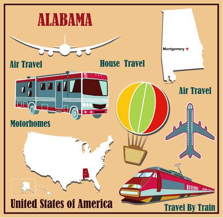 Mappa Appartamento di Alabama negli Stati Uniti per viaggi aerei in auto e in treno. Illustrazione vettoriale