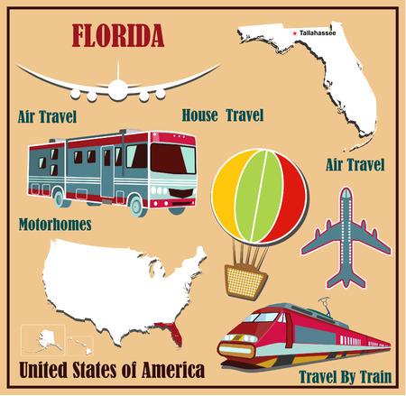 Mappa Appartamento della Florida negli Stati Uniti per il trasporto aereo in auto e in treno. Illustrazione vettoriale
