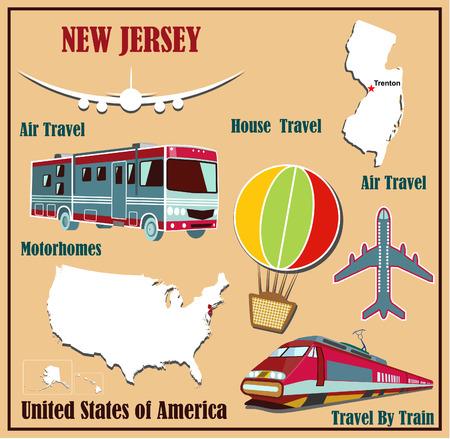 Mappa appartamento di New Jersey negli Stati Uniti per viaggi aerei in auto e in treno. Illustrazione vettoriale