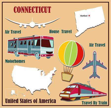 Mappa Appartamento del Connecticut negli Stati Uniti per viaggi aerei in auto e in treno. Illustrazione vettoriale