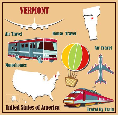 Mappa Appartamento del Vermont negli Stati Uniti per viaggi aerei in auto e in treno. Illustrazione vettoriale