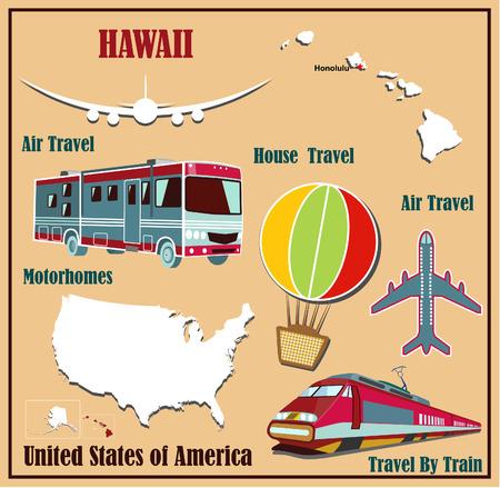 Mappa Appartamento di Hawaii negli Stati Uniti per viaggi aerei in auto e in treno. Illustrazione vettoriale