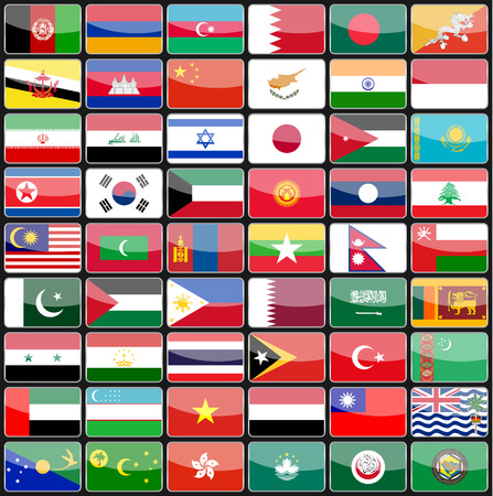 Elements of design icons flags of the countries of Asia. Vector illustration Vector