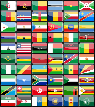 Elements design icons flags of the countries of Africa. Vector illustration Vector