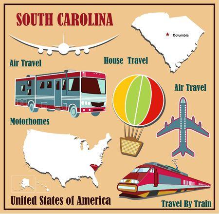 Mappa appartamento di South Carolina negli Stati Uniti per viaggi aerei in auto e in treno. Illustrazione vettoriale