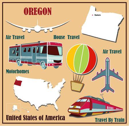 Mappa Appartamento di Oregon negli Stati Uniti per viaggi aerei in auto e in treno. Illustrazione vettoriale