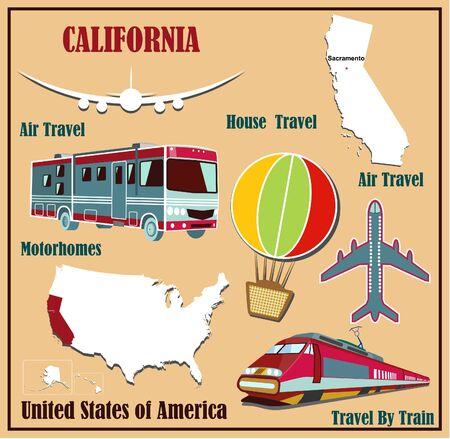 Mappa Appartamento della California negli Stati Uniti per viaggi aerei in auto e in treno. Illustrazione vettoriale