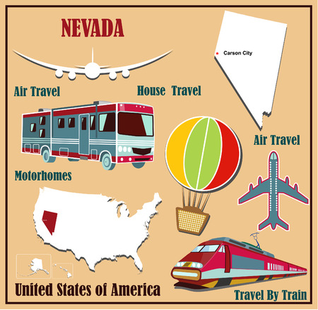 carson city: Flat map of Nevada in the U.S. for air travel by car and train. Vector illustration