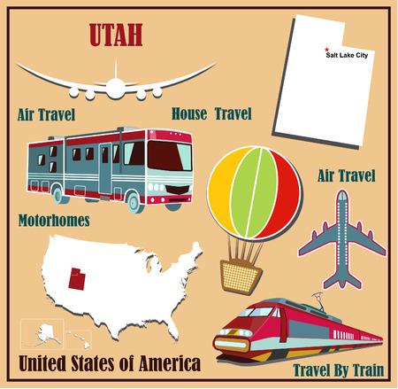 Mappa Appartamento di Utah negli Stati Uniti per viaggi aerei in auto e in treno. Illustrazione vettoriale