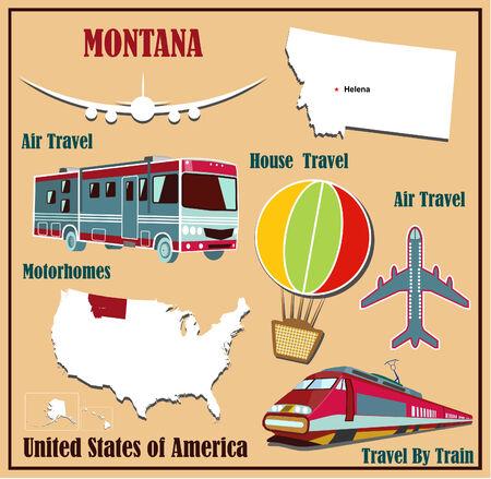 Mappa Appartamento di Montana negli Stati Uniti per viaggi aerei in auto e in treno. Illustrazione vettoriale
