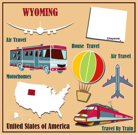 Mappa Appartamento del Wyoming negli Stati Uniti per viaggi aerei in auto e in treno. Illustrazione vettoriale