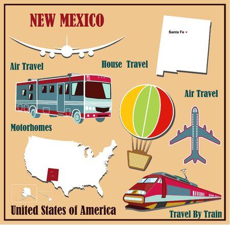 Mappa appartamento di New Mexico negli Stati Uniti per viaggi aerei in auto e in treno. Illustrazione vettoriale