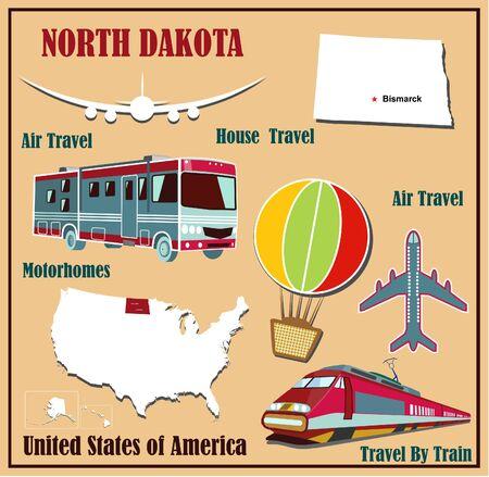 Piatto mappa del Nord Dakota negli Stati Uniti per i viaggi aerei in auto e in treno. Illustrazione vettoriale
