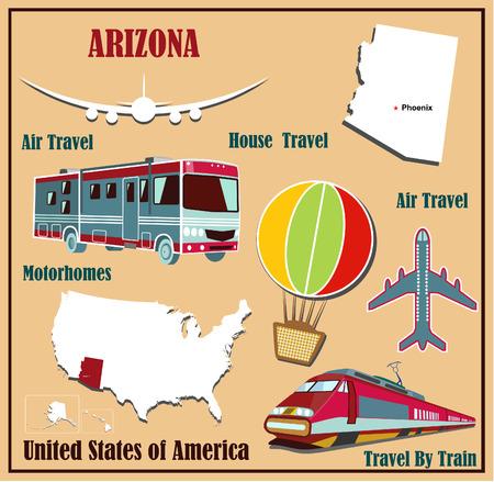 Mappa Appartamento dell'Arizona negli Stati Uniti per i viaggi aerei in auto e in treno. Illustrazione vettoriale
