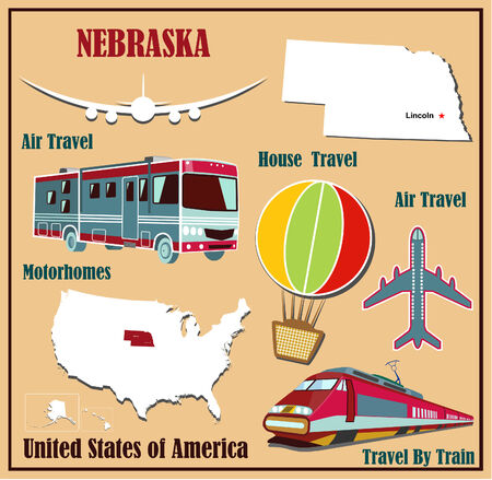 Flat map of Nebraska in the U.S. for air travel by car and train. Vector illustration Vector