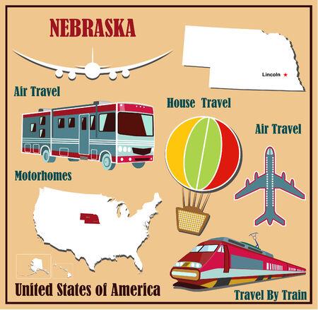Mappa Appartamento di Nebraska negli Stati Uniti per viaggi aerei in auto e in treno. Illustrazione vettoriale