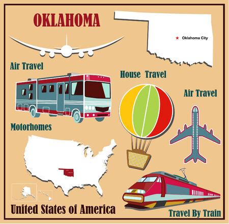 Mappa Appartamento di Oklahoma negli Stati Uniti per viaggi aerei in auto e in treno. Illustrazione vettoriale