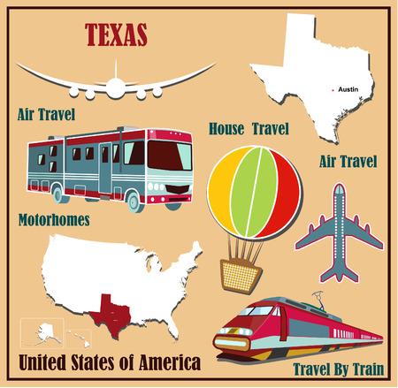 Mappa Appartamento del Texas negli Stati Uniti per viaggi aerei in auto e in treno. Illustrazione vettoriale