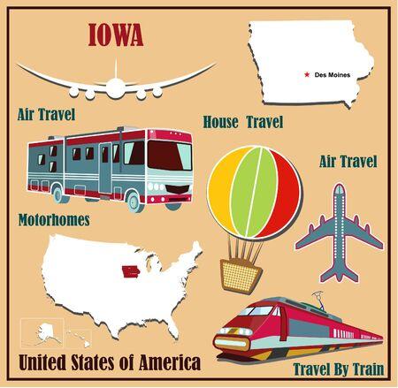 Mappa Appartamento di Iowa negli Stati Uniti per viaggi aerei in auto e in treno. Illustrazione vettoriale