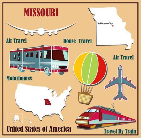 Mappa Appartamento del Missouri negli Stati Uniti per viaggi aerei in auto e in treno. Illustrazione vettoriale