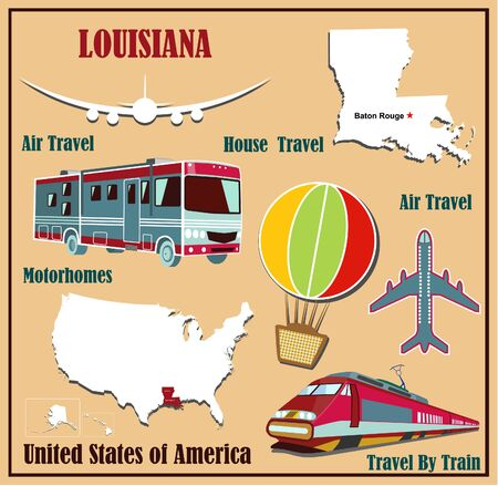 Flat map of Louisiana in the U.S. for air travel by car and train. Vector illustration Vector