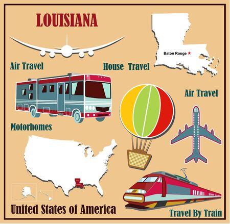 Mappa Appartamento della Louisiana negli Stati Uniti per viaggi aerei in auto e in treno. Illustrazione vettoriale