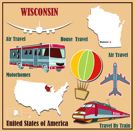 Flat map of Wisconsin in the U.S. for air travel by car and train. Vector illustration Vector