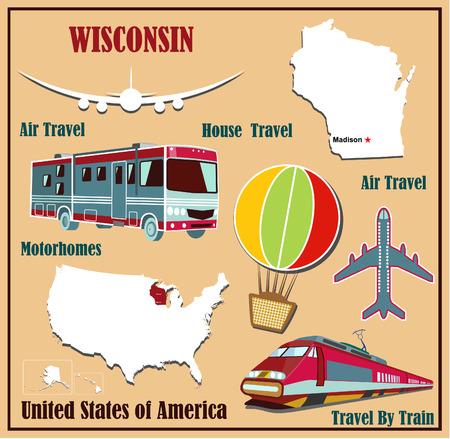 Mappa Appartamento di Wisconsin negli Stati Uniti per viaggi aerei in auto e in treno. Illustrazione vettoriale