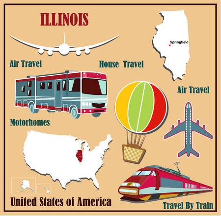 Mappa Appartamento di Illinois negli Stati Uniti per viaggi aerei in auto e in treno. Illustrazione vettoriale