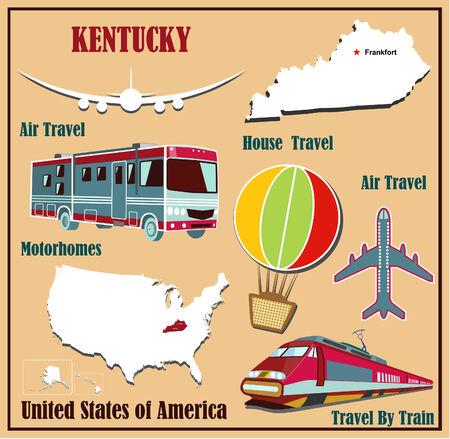 Mappa Appartamento di Kentucky negli Stati Uniti per viaggi aerei in auto e in treno. Illustrazione vettoriale