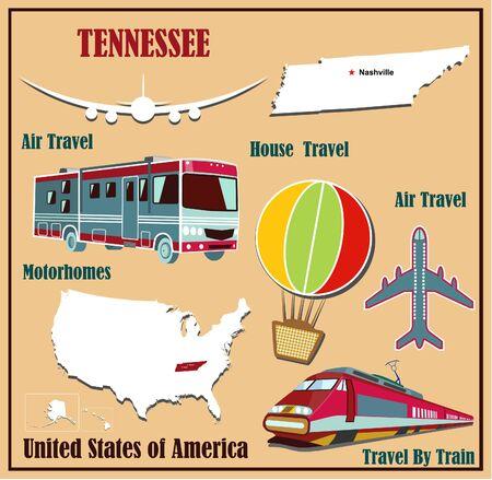 Mappa Appartamento di Tennessee negli Stati Uniti per viaggi aerei in auto e in treno. Illustrazione vettoriale
