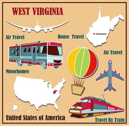Mappa appartamento di West Virginia negli Stati Uniti per viaggi aerei in auto e in treno. Illustrazione vettoriale