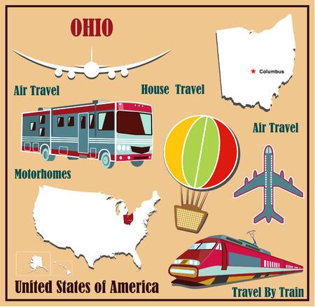 Mappa Appartamento dell'Ohio negli Stati Uniti per viaggi aerei in auto e in treno. Illustrazione vettoriale