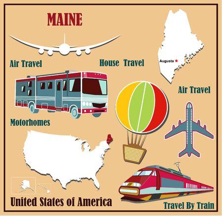 Piatto mappa del Maine negli Stati Uniti per il trasporto aereo in auto e in treno. Illustrazione vettoriale