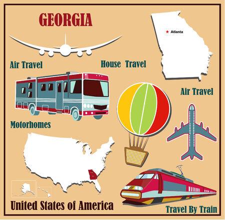 Mappa Appartamento di Georgia negli Stati Uniti per viaggi aerei in auto e in treno. Illustrazione vettoriale