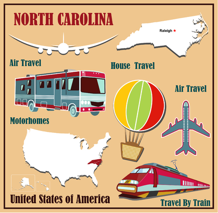 Flat map of North Carolina in the U.S. for air travel by car and train. Vector illustration Vector