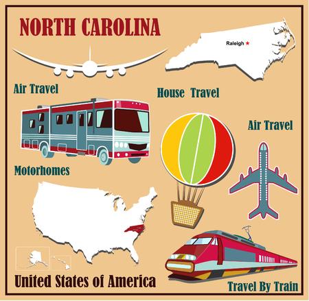 Piatto mappa del North Carolina negli Stati Uniti per i viaggi aerei in auto e in treno. Illustrazione vettoriale