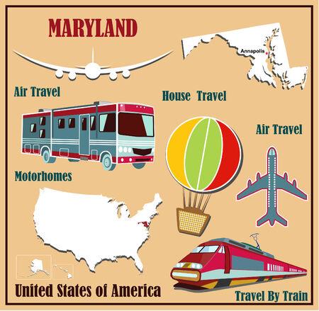 Mappa Appartamento del Maryland negli Stati Uniti per viaggi aerei in auto e in treno. Illustrazione vettoriale