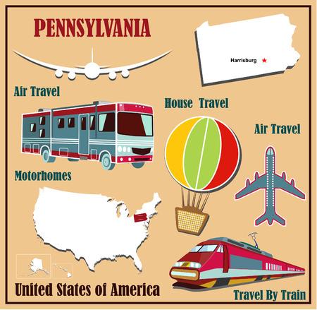 Mappa del piatto della Pennsylvania negli Stati Uniti per i viaggi aerei in auto e in treno. Illustrazione vettoriale