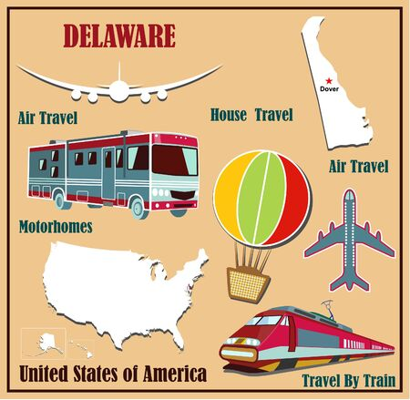 Piatto mappa del Delaware negli Stati Uniti per il trasporto aereo in auto e in treno. Illustrazione vettoriale