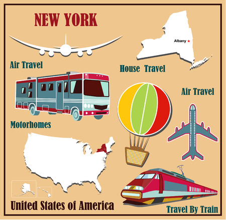 Mappa appartamento di New York negli Stati Uniti per viaggi aerei in auto e in treno. Illustrazione vettoriale