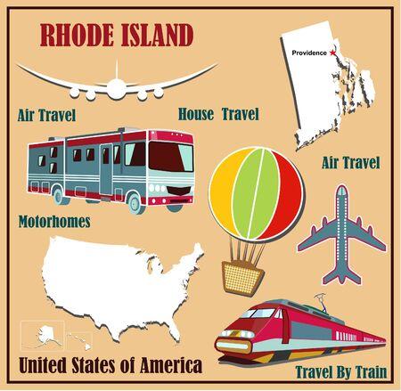 Piatto mappa del Rhode Island negli Stati Uniti per i viaggi aerei in auto e in treno. Illustrazione vettoriale