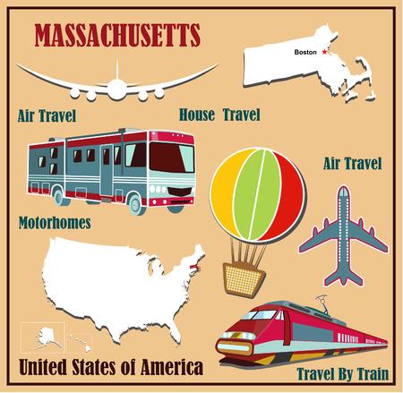 Piatto mappa del Massachusetts negli Stati Uniti per il trasporto aereo in auto e in treno. Illustrazione vettoriale