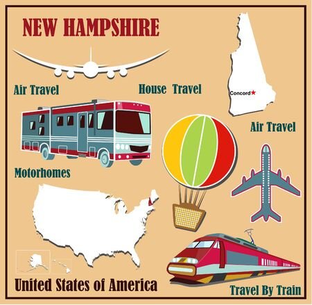 Flat map of New Hampshire in the U.S. for air travel by car and train. Vector illustration Vector