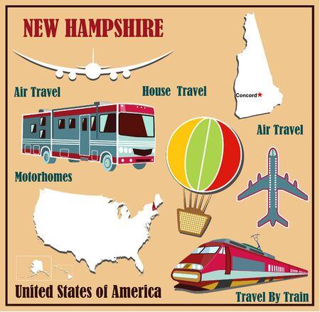 Mappa appartamento di New Hampshire negli Stati Uniti per viaggi aerei in auto e in treno. Illustrazione vettoriale