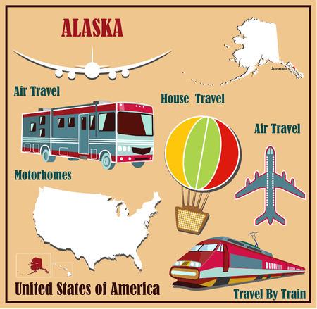 Mappa Appartamento dell'Alaska negli Stati Uniti per viaggi aerei in auto e in treno. Illustrazione vettoriale